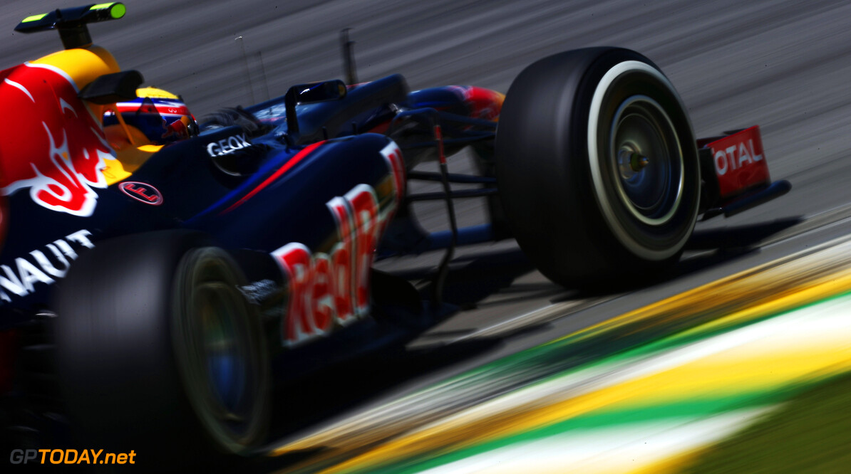 141020805KR00279_F1_Grand_P SAO PAULO, BRAZIL - NOVEMBER 23:  Mark Webber of Australia and Red Bull Racing drives during practice for the Brazilian Formula One Grand Prix at the Autodromo Jose Carlos Pace on November 23, 2012 in Sao Paulo, Brazil.  (Photo by Mark Thompson/Getty Images) *** Local Caption *** Mark Webber F1 Grand Prix of Brazil - Practice Mark Thompson Sao Paulo Brazil  Formula One Racing