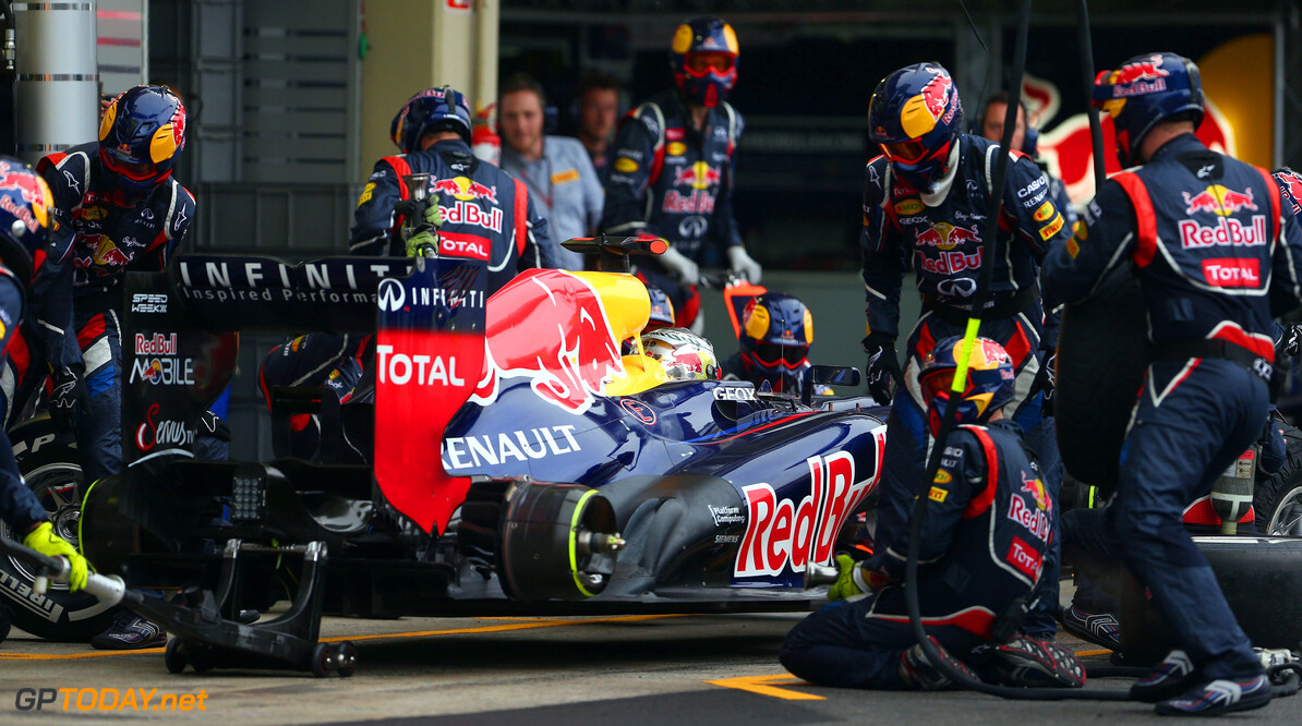 141020825KR00181_F1_Grand_P SAO PAULO, BRAZIL - NOVEMBER 25:  Sebastian Vettel of Germany and Red Bull Racing drives in for a pitstop on his way to finishing in sixth position and clinching the drivers world championship during the Brazilian Formula One Grand Prix at the Autodromo Jose Carlos Pace on November 25, 2012 in Sao Paulo, Brazil.  (Photo by Clive Mason/Getty Images) *** Local Caption *** Sebastian Vettel F1 Grand Prix of Brazil Clive Mason Sao Paulo Brazil  Formula One Racing Interlagos