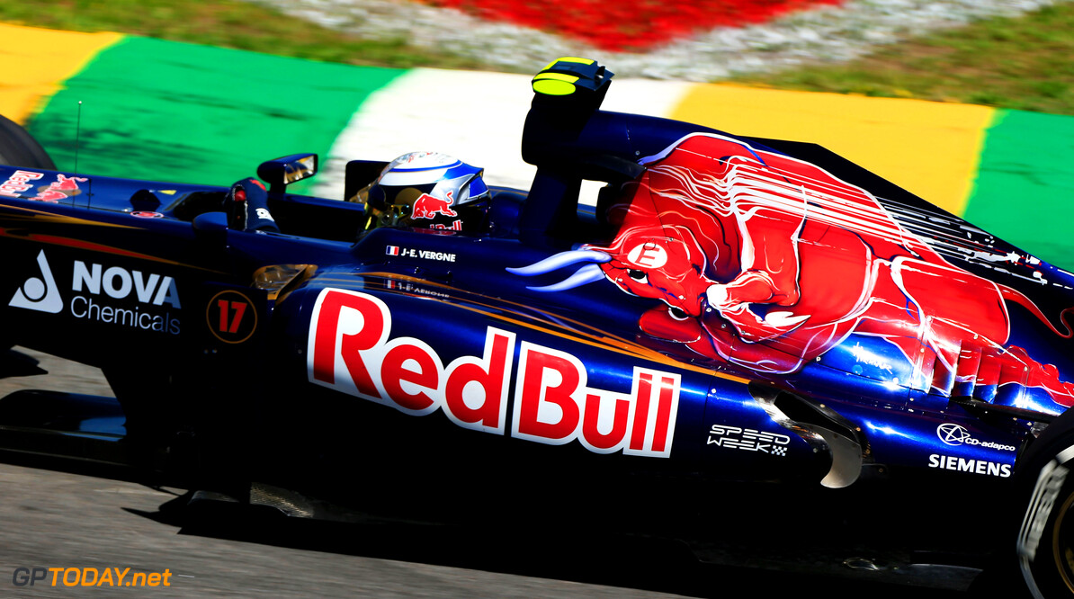 SAO PAULO, BRAZIL - NOVEMBER 23:  Jean-Eric Vergne of France and Scuderia Toro Rosso drives during practice for the Brazilian Formula One Grand Prix at the Autodromo Jose Carlos Pace on November 23, 2012 in Sao Paulo, Brazil.  (Photo by Peter Fox/Getty Images) *** Local Caption *** Jean-Eric Vergne F1 Grand Prix of Brazil - Practice Peter Fox Sao Paulo Brazil  Formula One Racing