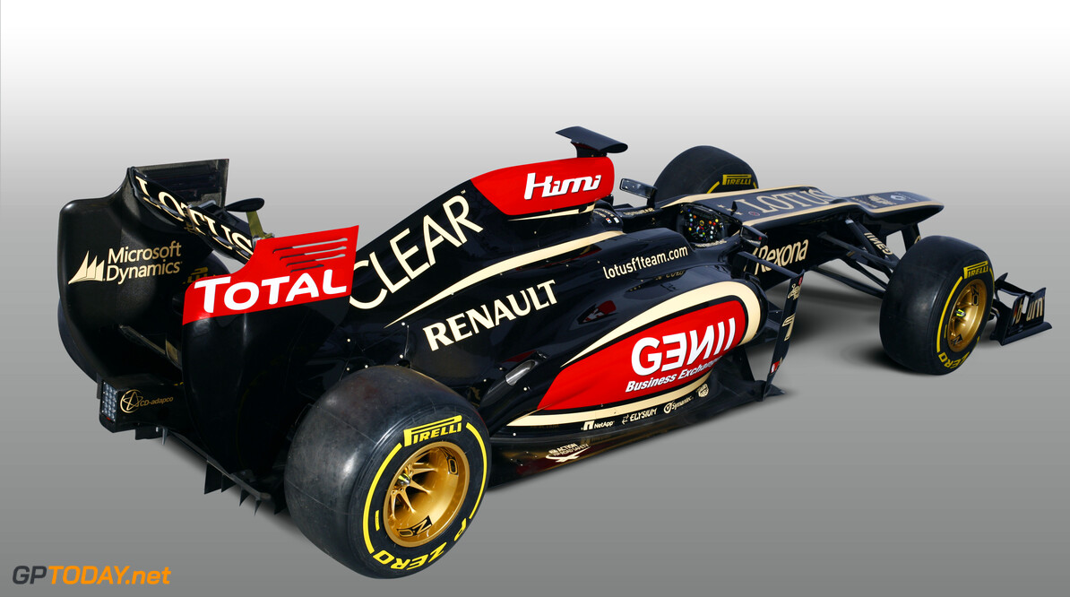 Lotus F1 Team 2013 Launch Photoshoot Enstone, Oxfordshire, UK 28th January 2013  Lotus E21 Renault livery in the studio Photo: Lotus F1 Team (Copyright Free FOR EDITORIAL USE ONLY)  ref: Digital Image _I4V9527  Peter Spinney