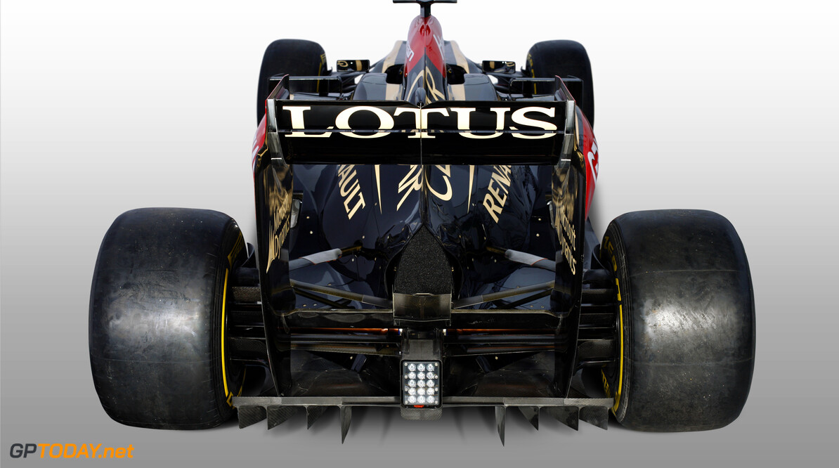 Lotus F1 Team 2013 Launch Photoshoot Enstone, Oxfordshire, UK 28th January 2013  Lotus E21 Renault livery in the studio Photo: Lotus F1 Team (Copyright Free FOR EDITORIAL USE ONLY)  ref: Digital Image _I4V9563  Peter Spinney