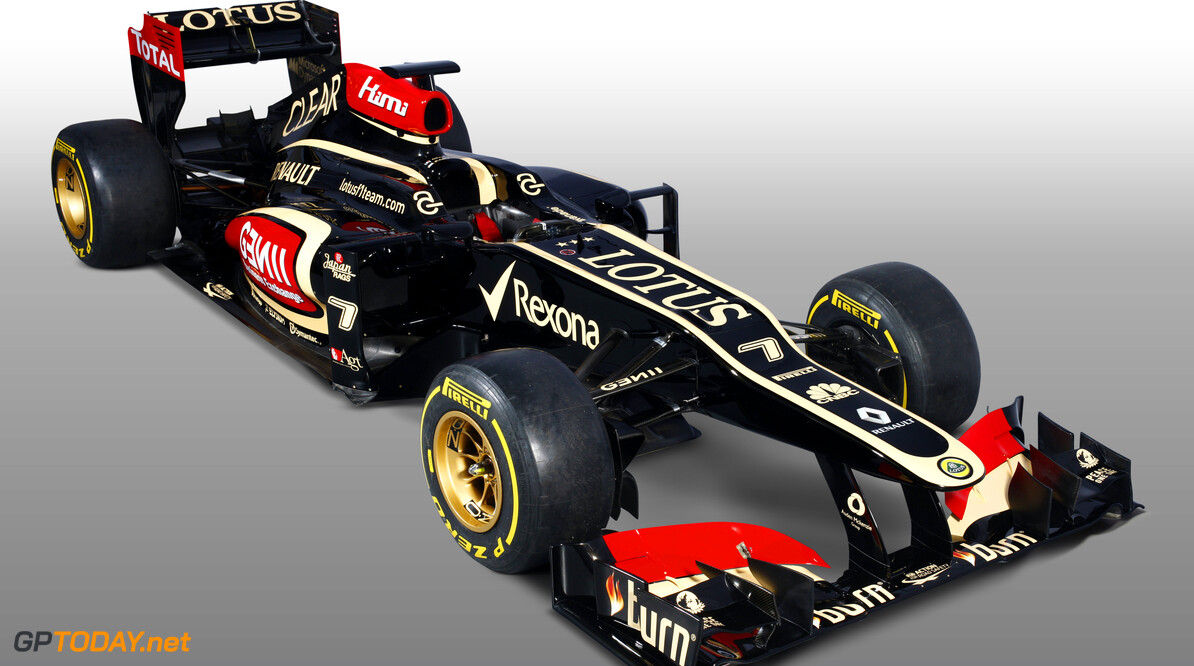 Lotus F1 Team 2013 Launch Photoshoot Enstone, Oxfordshire, UK 28th January 2013  Lotus E21 Renault livery in the studio Photo: Lotus F1 Team (Copyright Free FOR EDITORIAL USE ONLY)  ref: Digital Image _I4V9536  Peter Spinney