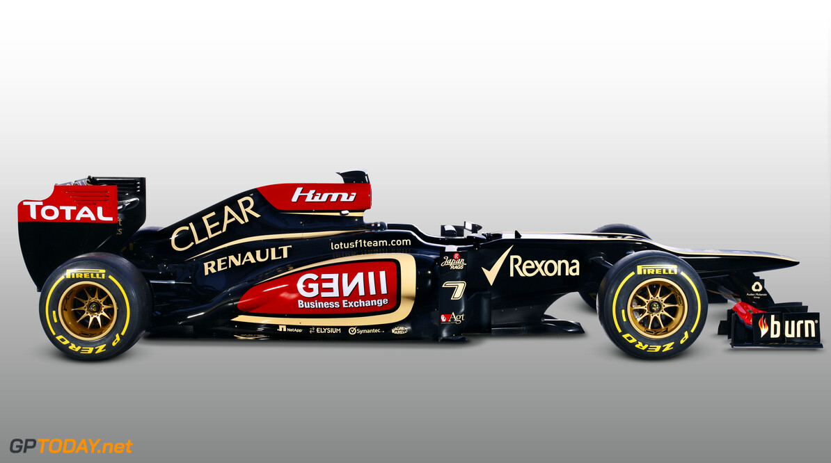 Lotus F1 Team 2013 Launch Photoshoot Enstone, Oxfordshire, UK 28th January 2013  Lotus E21 Renault livery in the studio Photo: Lotus F1 Team (Copyright Free FOR EDITORIAL USE ONLY)  ref: Digital Image _I4V9391  Peter Spinney