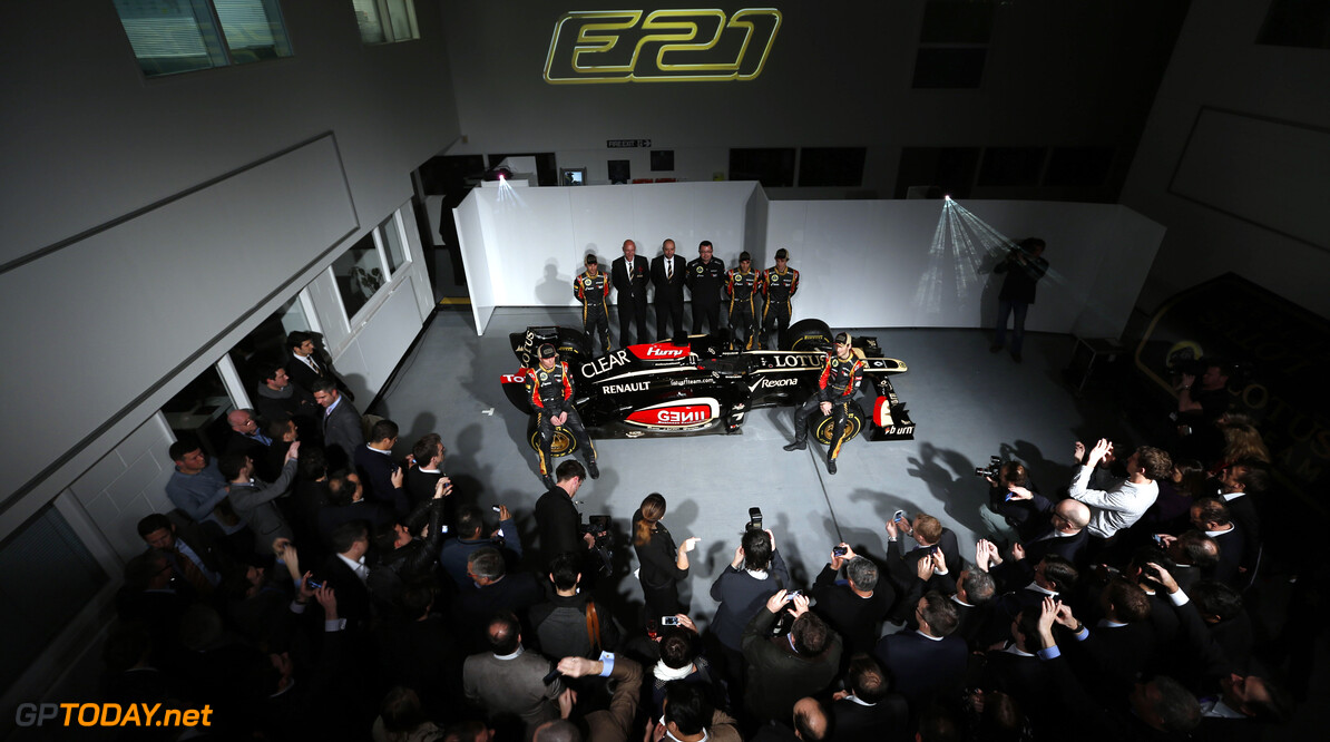 Lotus F1 Team 2013 Launch Enstone, Oxfordshire, UK 28th January 2013  Nicolas Prost, Development Driver, Lotus F1 Team, Davide Valsecchi, Third Driver, Lotus F1 Team, Kimi Raikkonen, Driver, Lotus F1 Team, Gerard Lopez, Chairman, Lotus F1 Team, Eric Boullier, Team Principal, Lotus F1 Team, Romain Grosjean, Driver, Lotus F1 Team, and Jerome D'Ambrosio, Reserve Driver, Lotus F1 Team with the E21 Photo: Lotus F1 Team (Copyright Free FOR EDITORIAL USE ONLY)  ref: Digital Image _R6T5846