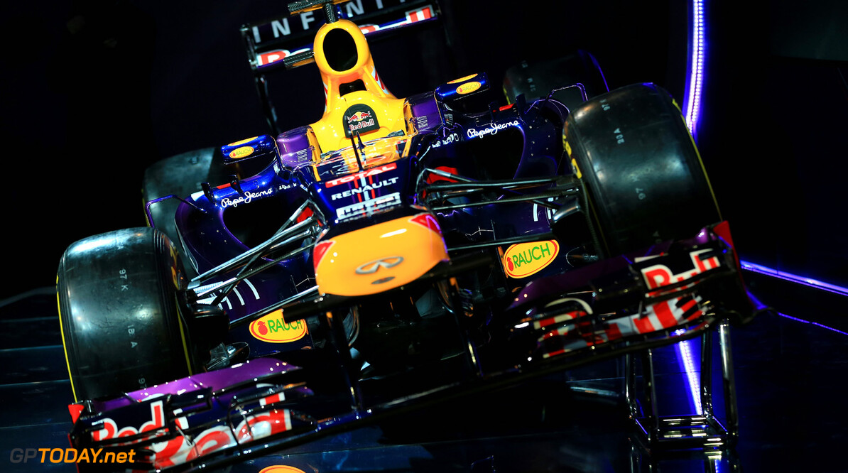 160437438RH00012_Infiniti_R MILTON KEYNES, ENGLAND - FEBRUARY 03:  The new Infiniti Red Bull Racing RB9 at the launch on February 3, 2013 in Milton Keynes, England.  (Photo by Richard Heathcote/Getty Images) Infiniti Red Bull Racing RB9 Launch Richard Heathcote Milton Keynes United Kingdom  Formula One Racing