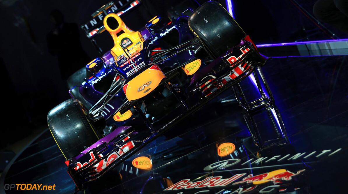 160437438RH00006_Infiniti_R MILTON KEYNES, ENGLAND - FEBRUARY 03:  The new Infiniti Red Bull Racing RB9 at the launch on February 3, 2013 in Milton Keynes, England.  (Photo by Richard Heathcote/Getty Images) Infiniti Red Bull Racing RB9 Launch Richard Heathcote Milton Keynes United Kingdom  Formula One Racing