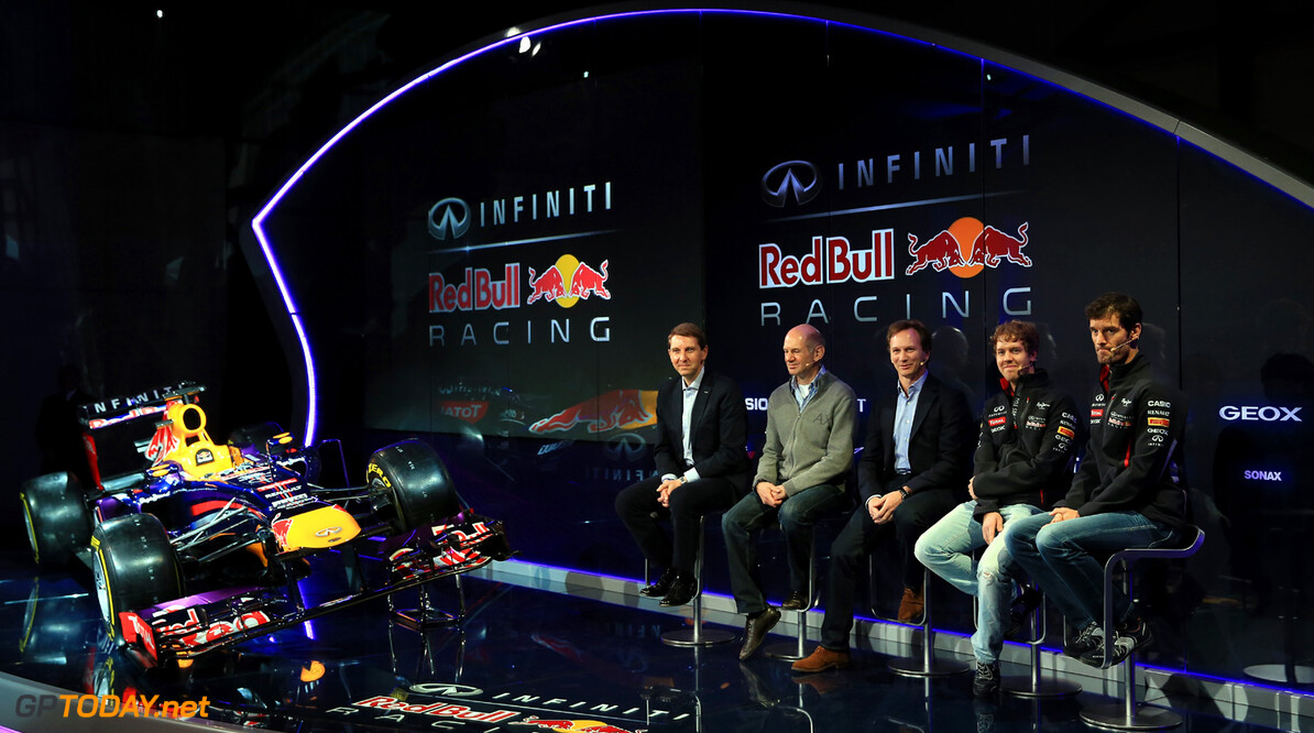 160437438RH00015_Infiniti_R MILTON KEYNES, ENGLAND - FEBRUARY 03:  (L-R) Simon Sproule, Infiniti Corporate Vice-President Global Marketing, Adrian Newey, Chief Technical Officer, Christian Horner, Team Principle, Mark Webber of Australia, and Sebastian Vettel of Germany talk to the guests during the Infiniti Red Bull Racing RB9 launch on February 3, 2013 in Milton Keynes, England.  (Photo by Richard Heathcote/Getty Images) Infiniti Red Bull Racing RB9 Launch Richard Heathcote Milton Keynes United Kingdom  Formula One Racing