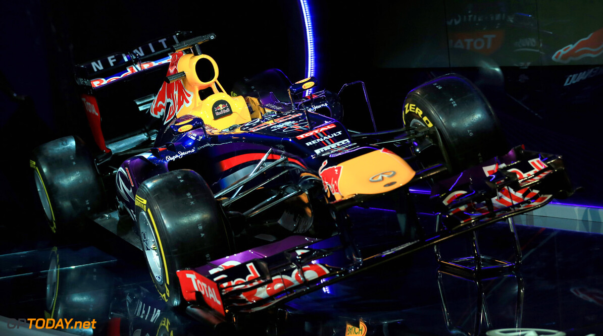 160437438RH00011_Infiniti_R MILTON KEYNES, ENGLAND - FEBRUARY 03:  The new Infiniti Red Bull Racing RB9 at the launch on February 3, 2013 in Milton Keynes, England.  (Photo by Richard Heathcote/Getty Images) Infiniti Red Bull Racing RB9 Launch Richard Heathcote Milton Keynes United Kingdom  Formula One Racing