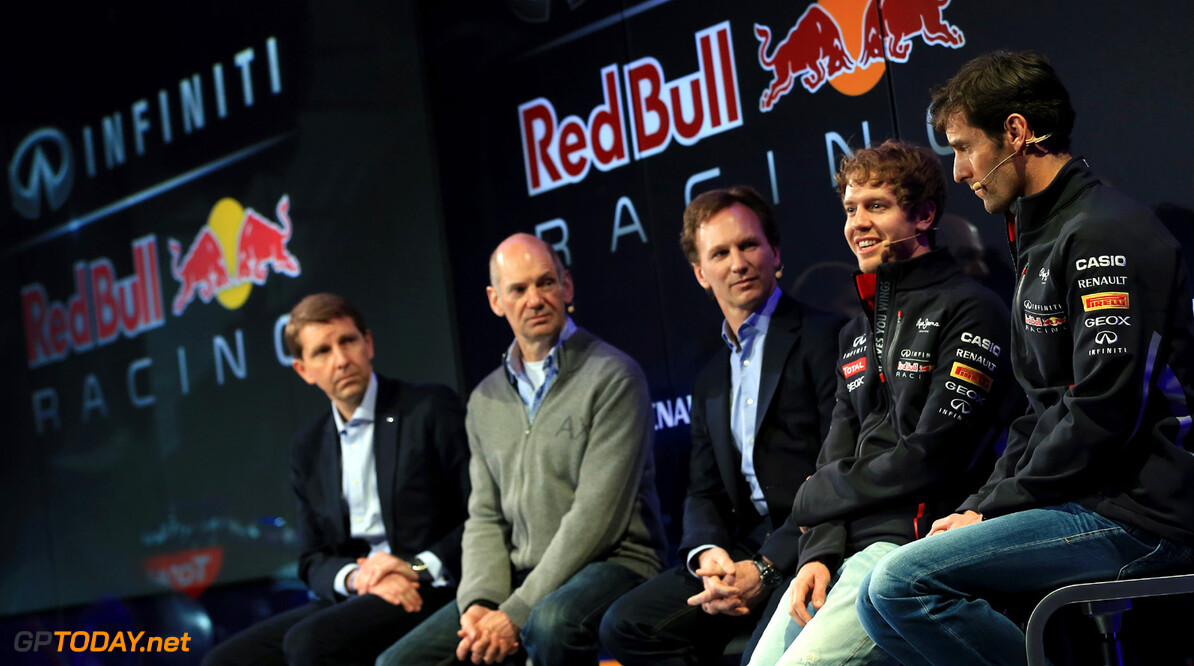 160437438RH00017_Infiniti_R MILTON KEYNES, ENGLAND - FEBRUARY 03:  (L-R) Simon Sproule, Infiniti Corporate Vice-President Global Marketing, Adrian Newey, Chief Technical Officer, Christian Horner, Team Principle, Mark Webber of Australia, and Sebastian Vettel of Germany talk to the guests during the Infiniti Red Bull Racing RB9 launch on February 3, 2013 in Milton Keynes, England.  (Photo by Richard Heathcote/Getty Images) Infiniti Red Bull Racing RB9 Launch Richard Heathcote Milton Keynes United Kingdom  Formula One Racing