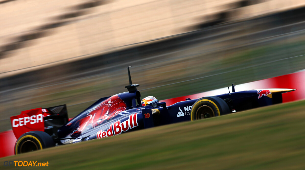 160867076KR00213_F1_Testing MONTMELO, SPAIN - FEBRUARY 21:  Jean-Eric Vergne of France and Scuderia Toro Rosso drives during day three of Formula One winter test at the Circuit de Catalunya on February 21, 2013 in Montmelo, Spain.  (Photo by Andrew Hone/Getty Images) *** Local Caption *** Jean-Eric Vergne F1 Testing in Barcelona - Day Three Andrew Hone Montmelo Spain  Formula One Racing Barcelona