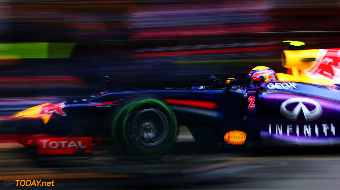 160867105KR00018_F1_Testing MONTMELO, SPAIN - FEBRUARY 22:  Mark Webber of Australia and Infiniti Red Bull Racing pulls away from a pitstop during day four of Formula One winter test at the Circuit de Catalunya on February 22, 2013 in Montmelo, Spain.  (Photo by Mark Thompson/Getty Images) *** Local Caption *** Mark Webber F1 Testing in Barcelona - Day Four Mark Thompson Montmelo Spain  Formula One Racing Barcelona