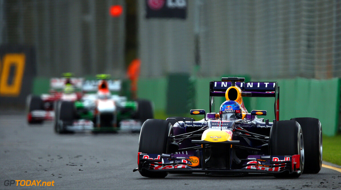 163375451KR00180_Australian MELBOURNE, AUSTRALIA - MARCH 17:  Sebastian Vettel of Germany and Infiniti Red Bull Racing drives during the Australian Formula One Grand Prix at the Albert Park Circuit on March 17, 2013 in Melbourne, Australia.  (Photo by Clive Mason/Getty Images) *** Local Caption *** Sebastian Vettel Australian F1 Grand Prix - Race Clive Mason Melbourne Australia  Formula One Racing formula 1 Auto Racing Formula 1 Australian Grand Prix Australian Formula One Grand Pr Formula One Grand Prix Australia F1 Grand Prix
