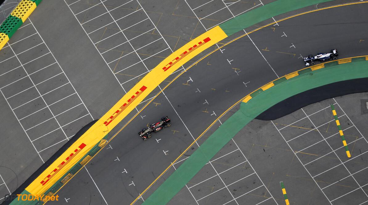 2013 Australian Grand Prix - Sunday Albert Park, Melbourne, Australia Sunday 17th March 2013 Romain Grosjean, Lotus E21 Renault, leads Valtteri Bottas, Williams FW35 Renault.  Photo: Steven Tee/Lotus F1 Team ref: Digital Image _L0U1908      formula 1 formula one aussie f1 gp mar mel oz