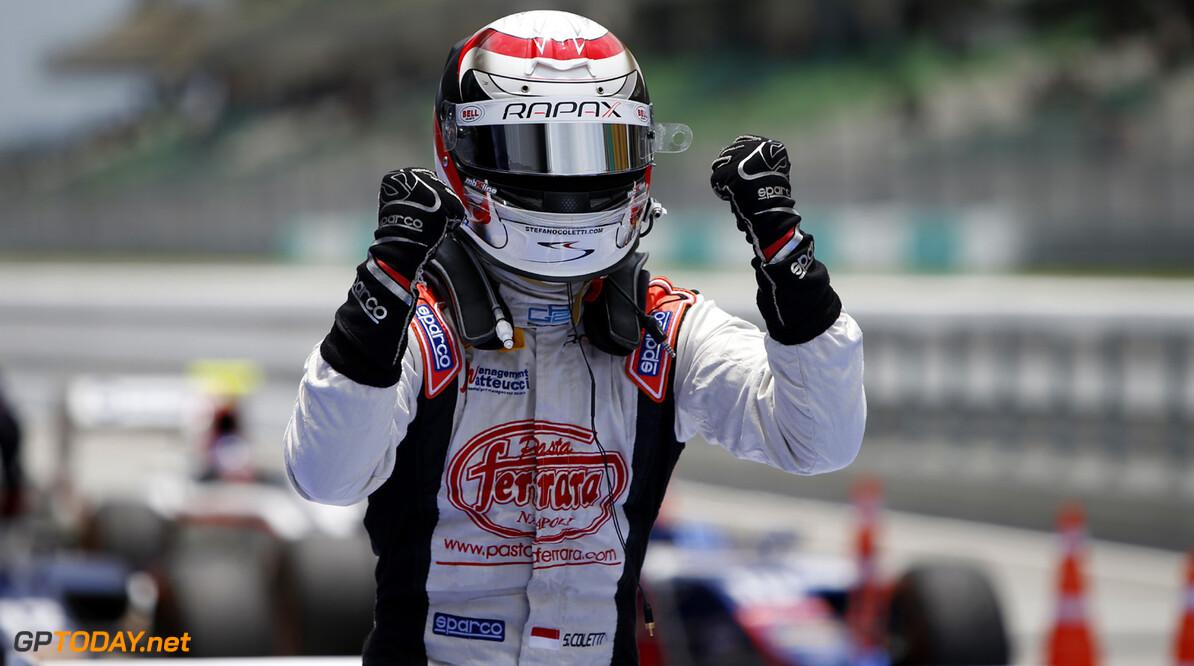 2013 GP2 Series. Round 1.  Sepang, Kuala Lumpur, Malaysia. 24th March 2013.  Sunday Race.  Stefano Coletti (MON, Rapax) celebrates his victory.  World Copyright: Alastair Staley/GP2 Series Media Service.  ref: _89P0556