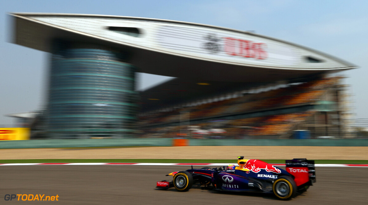 163375735KR00194_F1_Grand_P SHANGHAI, CHINA - APRIL 12:  Mark Webber of Australia and Infiniti Red Bull Racing drives during practice for the Chinese Formula One Grand Prix at the Shanghai International Circuit on April 12, 2013 in Shanghai, China.  (Photo by Clive Mason/Getty Images) *** Local Caption *** Mark Webber F1 Grand Prix of China - Practice Clive Mason Shanghai China  Formula One Racing formula 1 Auto Racing Formula 1 Grand Prix of China Chinese Formula One Grand Prix Formula One Grand Prix