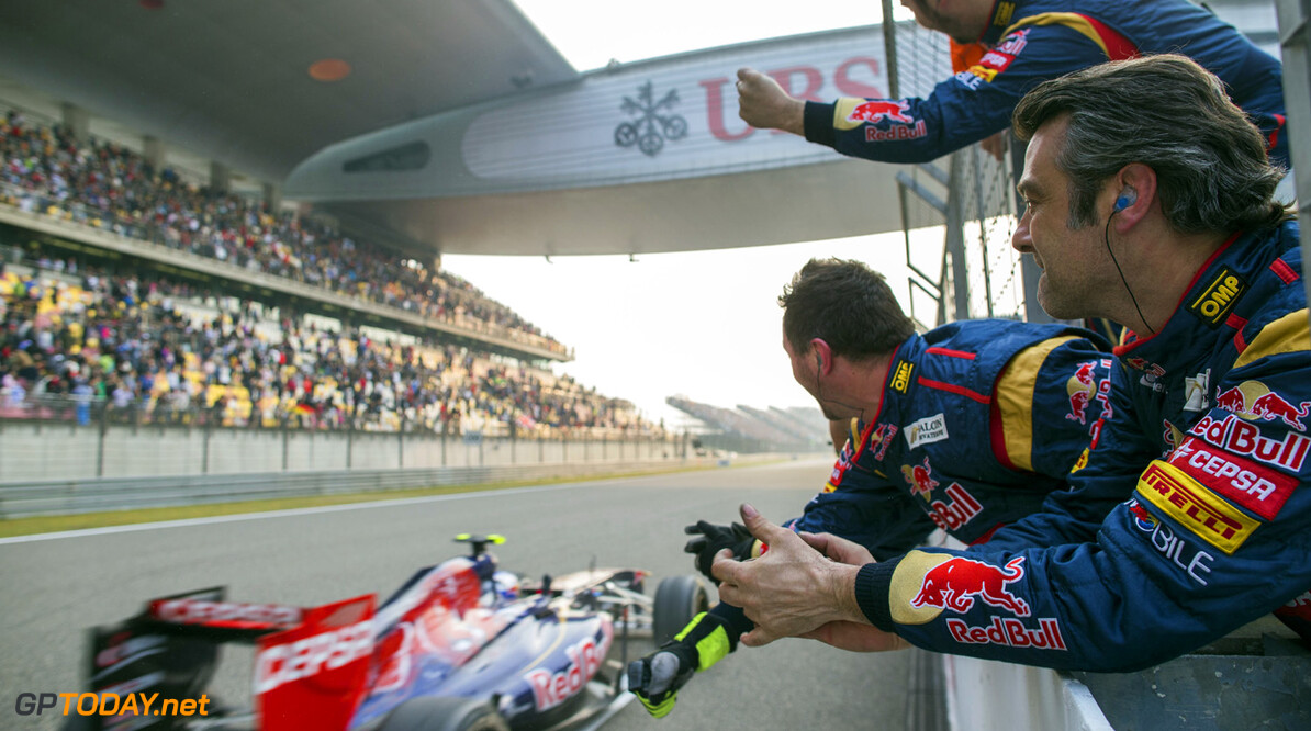 163375761KR00201_F1_Grand_P SHANGHAI, CHINA - APRIL 14:  Scuderia Toro Rosso mechanics celebrate as Daniel Ricciardo of Australia and Scuderia Toro Rosso finishes seventh during the Chinese Formula One Grand Prix at the Shanghai International Circuit on April 14, 2013 in Shanghai, China.  (Photo by Peter Fox/Getty Images) F1 Grand Prix of China - Race Peter Fox Shanghai China  Formula One Racing formula 1 Auto Racing Formula 1 Grand Prix of China Chinese Formula One Grand Prix Formula One Grand Prix