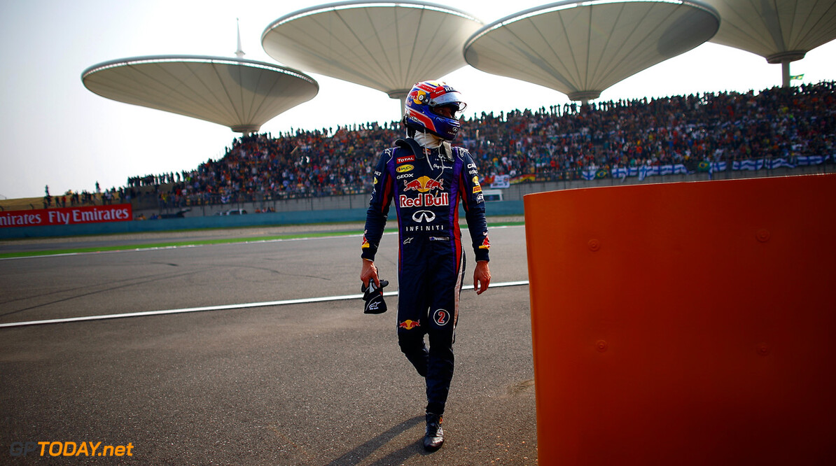 163375761VR016_F1_Grand_Pri SHANGHAI, CHINA - APRIL 14:  Mark Webber of Australia and Infiniti Red Bull Racing is pictured as he retires early during the Chinese Formula One Grand Prix at the Shanghai International Circuit on April 14, 2013 in Shanghai, China.  (Photo by Vladimir Rys/Getty Images) *** Local Caption *** Mark Webber F1 Grand Prix of China - Race Vladimir Rys Shanghai China  Formula One Racing formula 1 Auto Racing Formula 1 Grand Prix of China Chinese Formula One Grand Prix Formula One Grand Prix