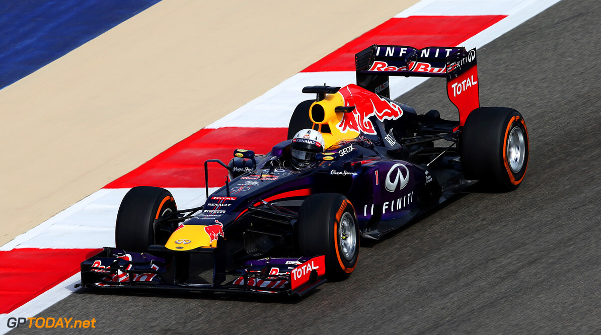 163377134KR00143_F1_Grand_P SAKHIR, BAHRAIN - APRIL 21:  Sebastian Vettel of Germany and Infiniti Red Bull Racing drives during the Bahrain Formula One Grand Prix at the Bahrain International Circuit on April 21, 2013 in Sakhir, Bahrain.  (Photo by Mark Thompson/Getty Images) *** Local Caption *** Sebastian Vettel F1 Grand Prix of Bahrain - Race Mark Thompson Sakhir Bahrain  formula 1 Formula One Racing Auto Racing Formula 1 Grand Prix of Bahrain Bahrain Formula One Grand Prix Formula One Grand Prix