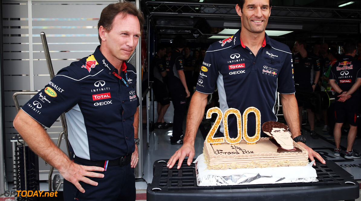 163377134KR00007_F1_Grand_P SAKHIR, BAHRAIN - APRIL 21:  Mark Webber of Australia and Infiniti Red Bull Racing receives a cake from his Team Principal Christian Horner and team mates as he prepares to take part in his 200th F1 race during the Bahrain Formula One Grand Prix at the Bahrain International Circuit on April 21, 2013 in Sakhir, Bahrain.  (Photo by Mark Thompson/Getty Images) *** Local Caption *** Mark Webber; Christian Horner F1 Grand Prix of Bahrain - Race Mark Thompson Sakhir Bahrain  formula 1 Formula One Racing Auto Racing Formula 1 Grand Prix of Bahrain Bahrain Formula One Grand Prix Formula One Grand Prix