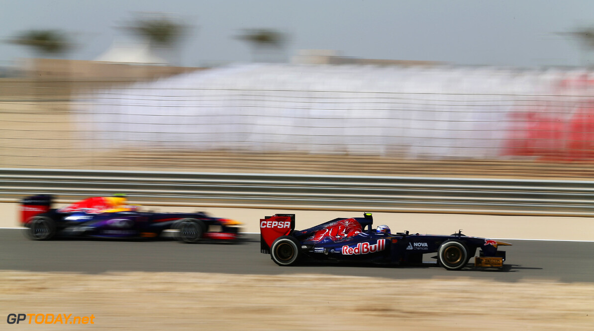 163377116KR00255_F1_Grand_P SAKHIR, BAHRAIN - APRIL 19:  Daniel Ricciardo of Australia and Scuderia Toro Rosso drives during practice for the Bahrain Formula One Grand Prix at the Bahrain International Circuit on April 19, 2013 in Sakhir, Bahrain.  (Photo by Mark Thompson/Getty Images) *** Local Caption *** Daniel Ricciardo F1 Grand Prix of Bahrain - Practice Mark Thompson Sakhir Bahrain  formula 1 Formula One Racing Auto Racing Formula 1 Grand Prix of Bahrain Bahrain Formula One Grand Prix Formula One Grand Prix