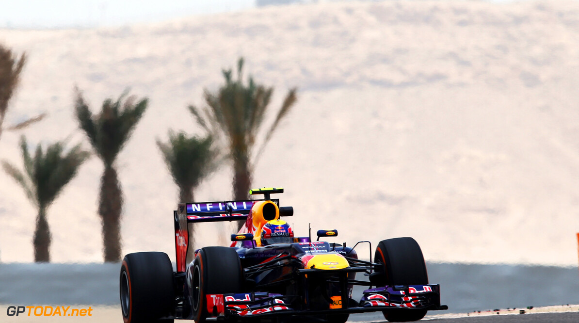 163377116KR00095_F1_Grand_P SAKHIR, BAHRAIN - APRIL 19:  Mark Webber of Australia and Infiniti Red Bull Racing drives during practice for the Bahrain Formula One Grand Prix at the Bahrain International Circuit on April 19, 2013 in Sakhir, Bahrain.  (Photo by Clive Mason/Getty Images) *** Local Caption *** Mark Webber F1 Grand Prix of Bahrain - Practice Clive Mason Sakhir Bahrain  formula 1 Formula One Racing Auto Racing Formula 1 Grand Prix of Bahrain Bahrain Formula One Grand Prix Formula One Grand Prix
