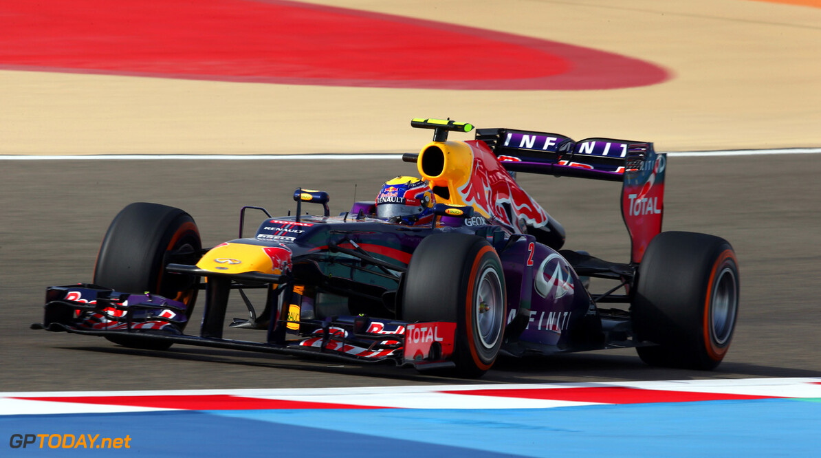 163377134KR00203_F1_Grand_P SAKHIR, BAHRAIN - APRIL 21:  Mark Webber of Australia and Infiniti Red Bull Racing drives during the Bahrain Formula One Grand Prix at the Bahrain International Circuit on April 21, 2013 in Sakhir, Bahrain.  (Photo by Clive Mason/Getty Images) *** Local Caption *** Mark Webber F1 Grand Prix of Bahrain - Race Clive Mason Sakhir Bahrain  formula 1 Formula One Racing Auto Racing Formula 1 Grand Prix of Bahrain Bahrain Formula One Grand Prix Formula One Grand Prix