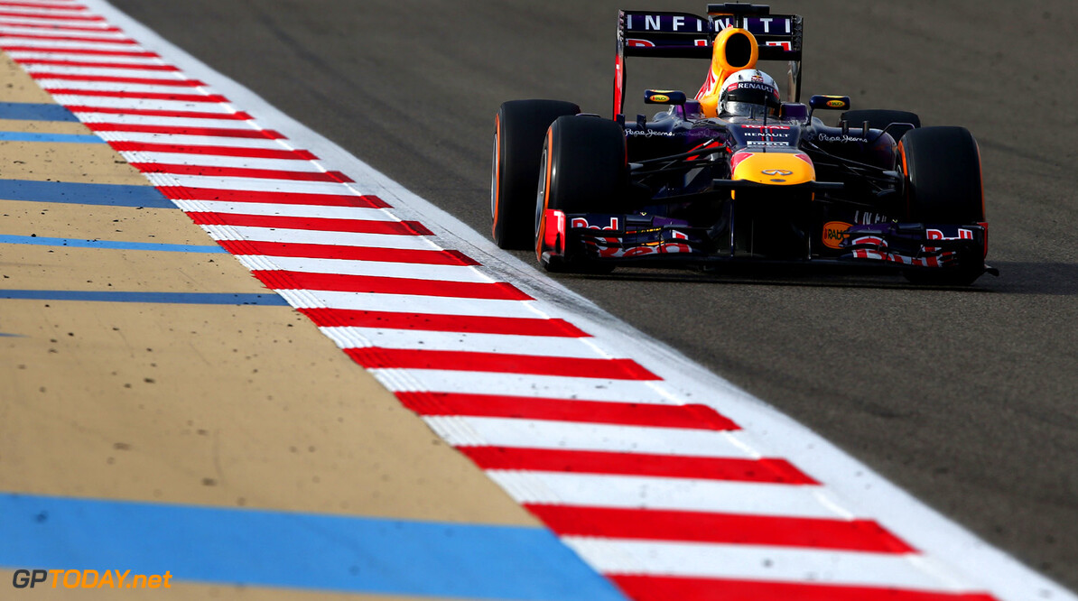 163377134KR00103_F1_Grand_P SAKHIR, BAHRAIN - APRIL 21:  Sebastian Vettel of Germany and Infiniti Red Bull Racing drives on his way to winning the Bahrain Formula One Grand Prix at the Bahrain International Circuit on April 21, 2013 in Sakhir, Bahrain.  (Photo by Clive Mason/Getty Images) *** Local Caption *** Sebastian Vettel F1 Grand Prix of Bahrain - Race Clive Mason Sakhir Bahrain  formula 1 Formula One Racing Auto Racing Formula 1 Grand Prix of Bahrain Bahrain Formula One Grand Prix Formula One Grand Prix