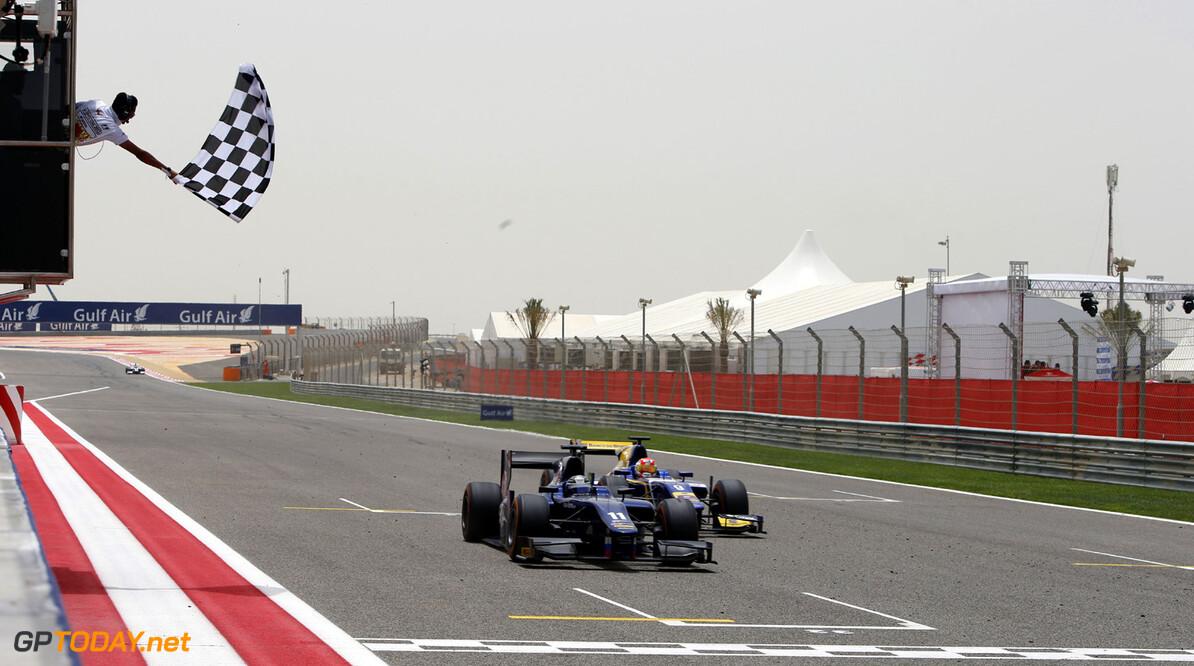2013 GP2 Series. Round 2.  Bahrain International Circuit, Sakhir, Bahrain. 21st April.  Sunday Race.  Sam Bird (GBR, RUSSIAN TIME) crosses the line to take victory. Action.  World Copyright: Glenn Dunbar/GP2 Series Media Service. Ref: _89P4226