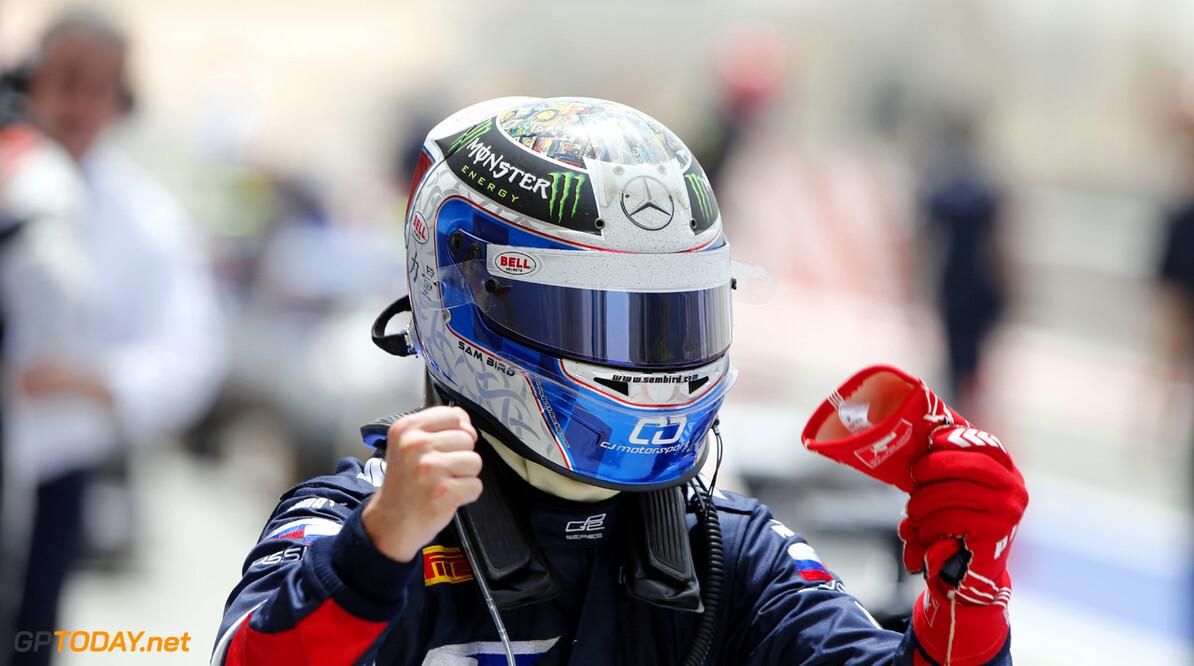 2013 GP2 Series. Round 2.  Bahrain International Circuit, Sakhir, Bahrain. 21st April.  Sunday Race.  Sam Bird (GBR, RUSSIAN TIME) celebrates his victory.  World Copyright: Glenn Dunbar/GP2 Series Media Service. Ref: _89P4258