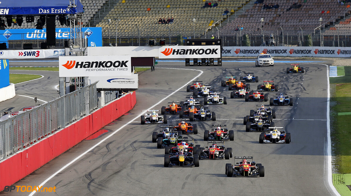 FIA Formula 3 European Championship, round 3, race 2, Hockenheim Start of the race, 1 Raffaele Marciello (I, Prema Powerteam, Dallara F312 Mercedes) leading 20 Tom Blomqvist (GB, Eurointernational, Dallara F312 Mercedes) and 24 Lucas Auer (A, Prema Powerteam, Dallara F312 Mercedes), FIA Formula 3 European Championship, round 3, race 2, Hockenheim (D) - 3. - 5. May 2013 *** Local Caption *** Copyright (c) FIA Formula 3 European Championship / Thomas Suer FIA Formula 3 European Championship, round 3, race 2, Hockenheim (D) Thomas Suer Hockenheim Germany
