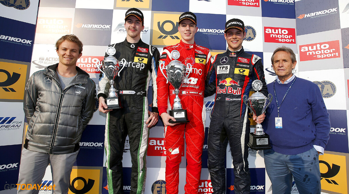 FIA Formula 3 European Championship, round 3, race 2, Hockenheim Prize giving ceremony, Nico Rosberg, 30 Josh Hill (GB, Fortec Motorsports, Dallara F312 Mercedes), 1 Raffaele Marciello (I, Prema Powerteam, Dallara F312 Mercedes), 20 Tom Blomqvist (GB, Eurointernational, Dallara F312 Mercedes), Jacky Ickx, FIA Formula 3 European Championship, round 3, race 2, Hockenheim (D) - 3. - 5. May 2013 *** Local Caption *** Copyright (c) FIA Formula 3 European Championship / Thomas Suer FIA Formula 3 European Championship, round 3, race 2, Hockenheim (D) Thomas Suer Hockenheim Germany