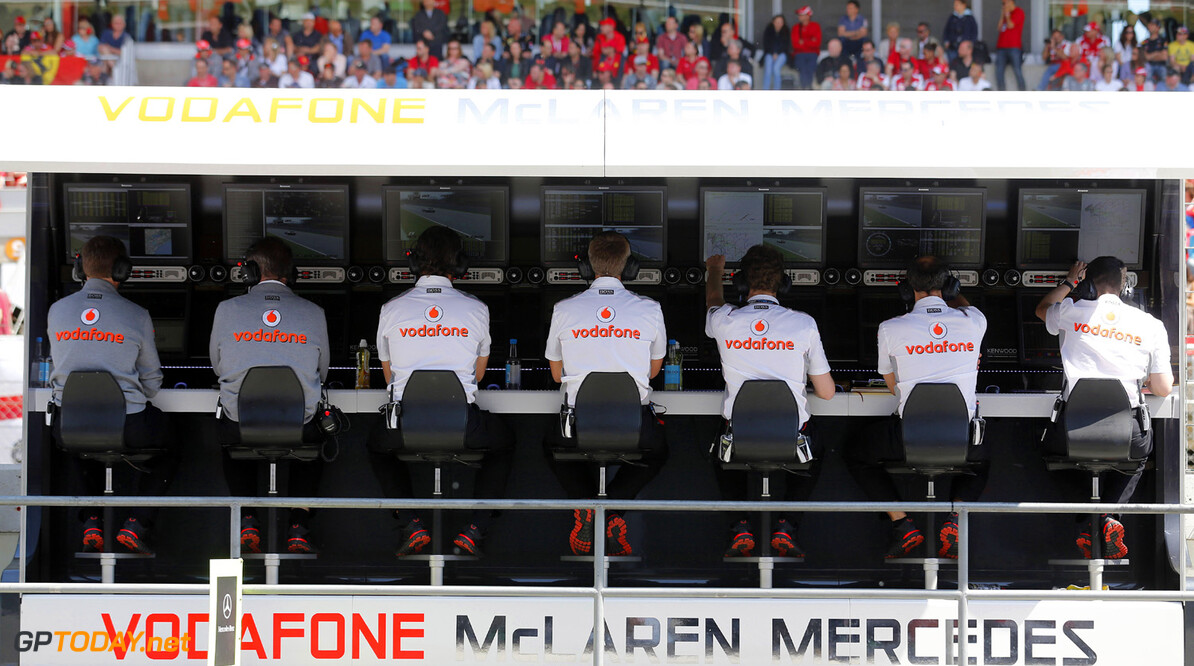 2013 Spanish Grand Prix - Sunday Circuit de Catalunya, Barcelona, Spain 12th May 2013 Vodafone McLaren Mercedes pit wall. Photo: Steven Tee/McLaren ref: Digital Image _14P2575 Spanish Grand Prix - Sunday     formula 1 formula one f1 gp montmelo esp spn catalan