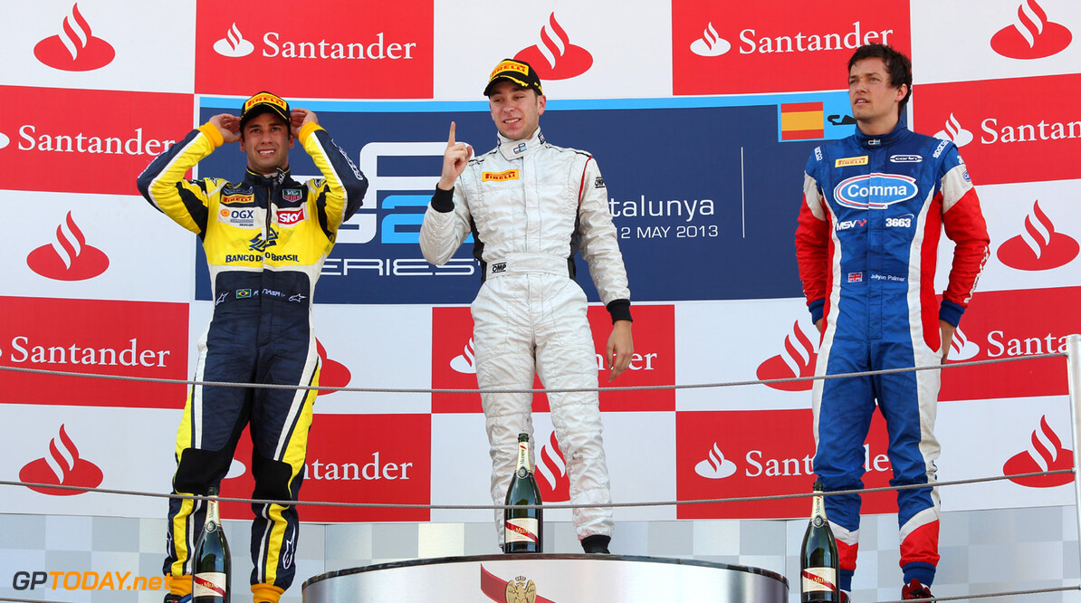 2013 GP2 Series. Round 3.  Circuit de Catalunya, Barcelona Spain. 11th May 2013. Saturday Race. Robin Frijns (NED, Hilmer Motorsport) celebrates his victory.  World Copyright: Malcolm Griffiths/GP2 Series Media Service. Ref: C76D5282