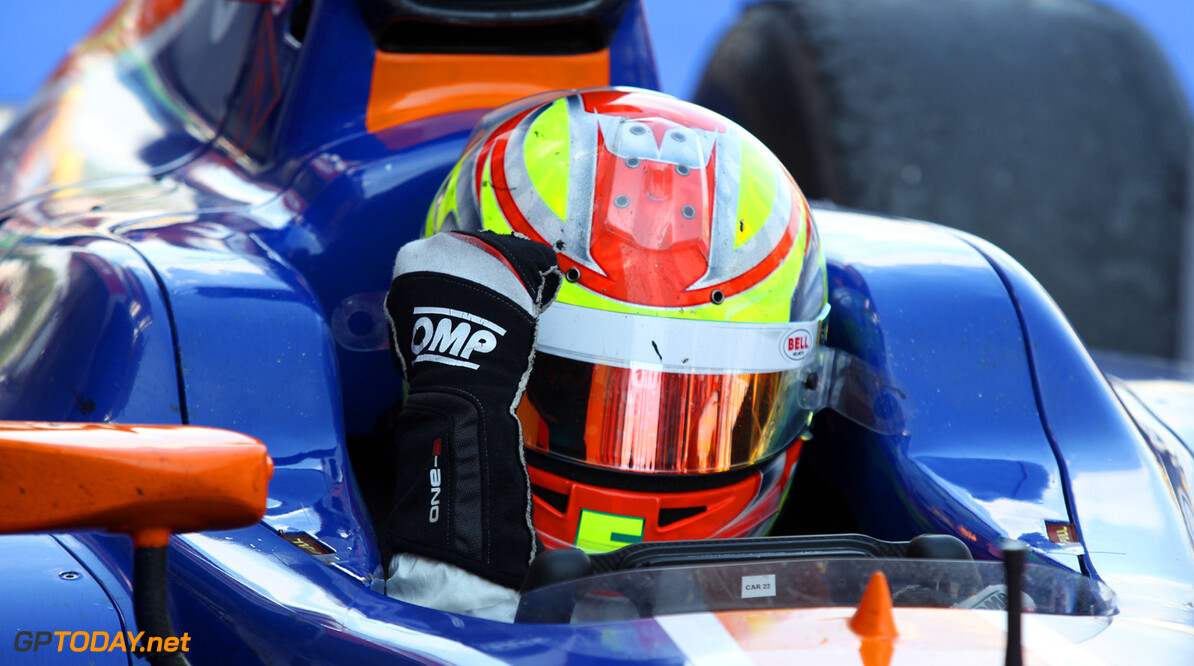 2013 GP2 Series. Round 3.  Circuit de Catalunya, Barcelona Spain. 11th May 2013. Saturday Race. Robin Frijns (NED, Hilmer Motorsport) celebrates his victory.  World Copyright: Malcolm Griffiths/GP2 Series Media Service. Ref: C76D5231