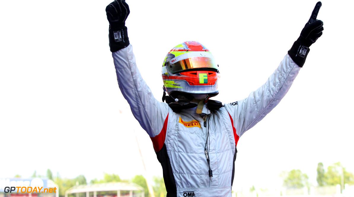 2013 GP2 Series. Round 3.  Circuit de Catalunya, Barcelona Spain. 11th May 2013. Saturday Race. Robin Frijns (NED, Hilmer Motorsport) celebrates his victory.  World Copyright: Malcolm Griffiths/GP2 Series Media Service. Ref: C76D5253