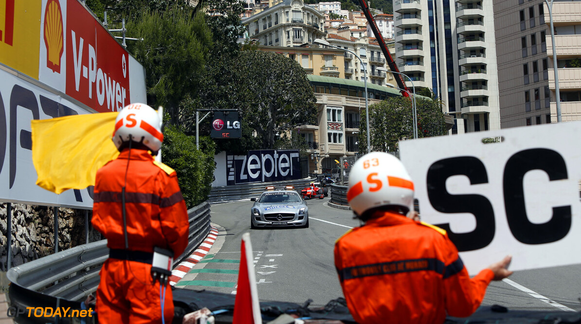 2013 GP2 Series. Round 4.  Monte Carlo, Monaco. 24th May 2013. Friday Race. The safety car leads the field. Action.  World Copyright: Andrew Ferraro/GP2 Series Media Service. Ref: _79P9196