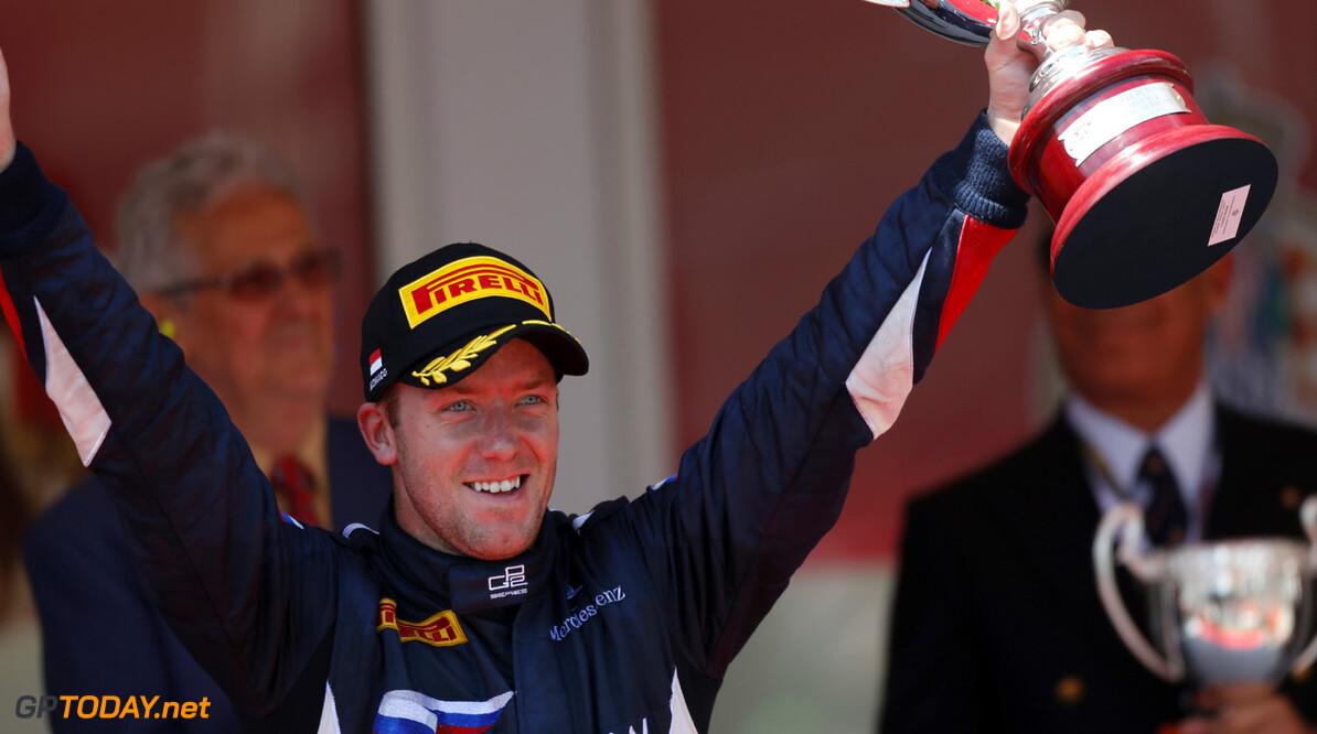 2013 GP2 Series. Round 4.  Monte Carlo, Monaco. 24th May 2013. Friday Race. Sam Bird (GBR, RUSSIAN TIME) celebrates his victory.  World Copyright: Andrew Ferraro/GP2 Series Media Service. Ref: _79P9743