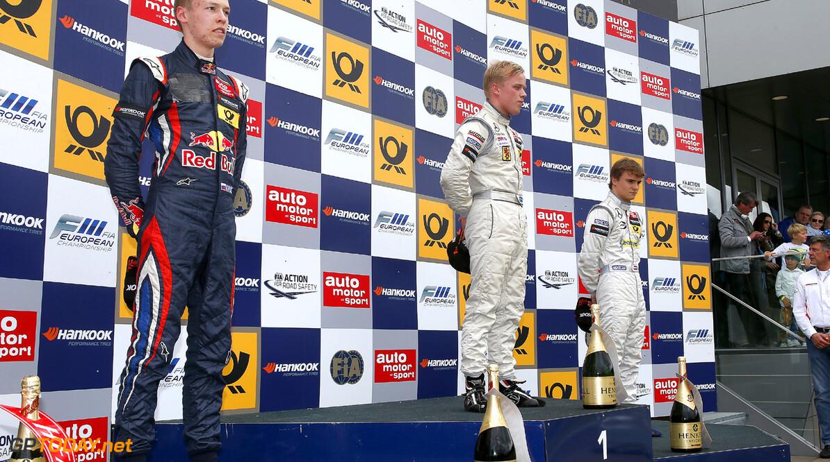 FIA Formula 3 European Championship, round 5, race 3, Red Bull R Prize giving ceremony, 51 Daniil Kvyat (RUS, Carlin, Dallara F312 Volkswagen), 6 Felix Rosenqvist (S, kfzteile24 Muecke Motorsport, Dallara F312 Mercedes), 24 Lucas Auer (A, Prema Powerteam, Dallara F312 Mercedes), FIA Formula 3 European Championship, round 5, race 3, Red Bull Ring Spielberg (A) - 31. May - 2. June 2013 *** Local Caption *** Copyright (c) FIA Formula 3 European Championship / Thomas Suer FIA Formula 3 European Championship, round 5, race 3, Spielberg (A) Thomas Suer Spielberg Austria