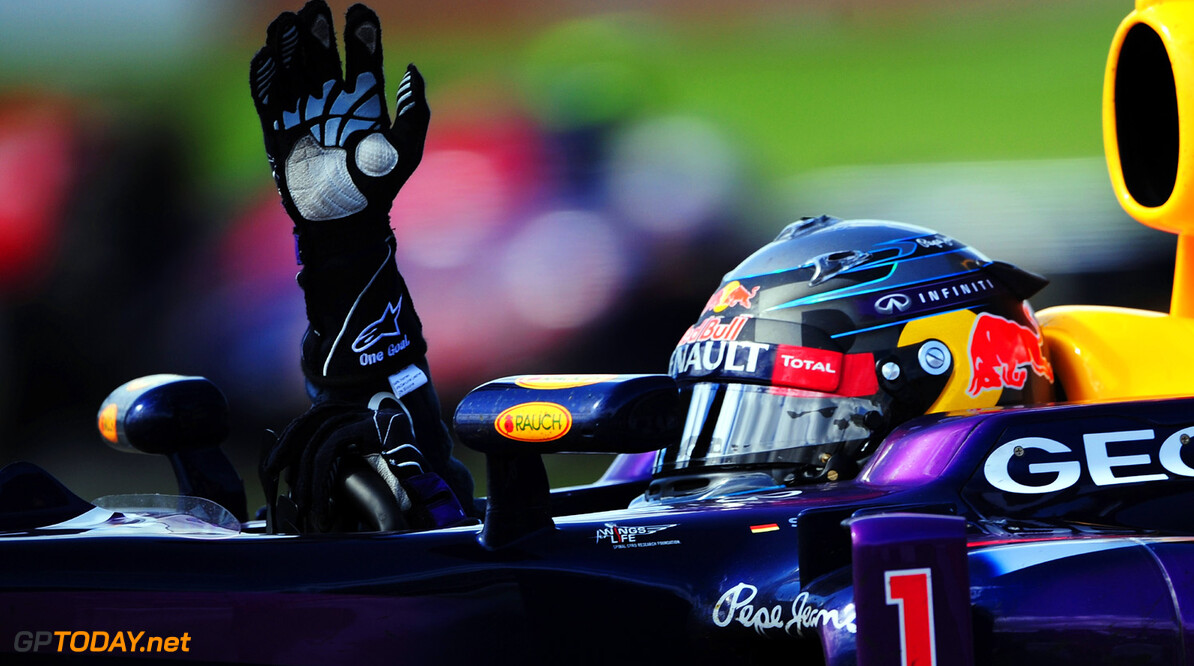 163377382KR00044_Canadian_F MONTREAL, QC - JUNE 09:  Sebastian Vettel of Germany and Infiniti Red Bull Racing celebrates after winning the Canadian Formula One Grand Prix at the Circuit Gilles Villeneuve on June 9, 2013 in Montreal, Canada.  (Photo by Shaun Botterill/Getty Images) *** Local Caption *** Sebastian Vettel Canadian F1 Grand Prix - Race Shaun Botterill Montreal Canada  Formula One Racing formula 1 Auto Racing Formula 1 Canadian Grand Prix Canadian Formula One Grand Prix Formula One Grand Prix
