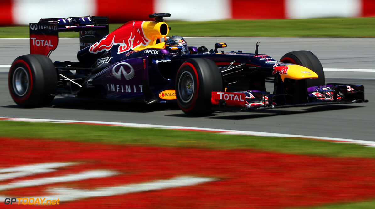 163377382KR00176_Canadian_F MONTREAL, QC - JUNE 09:  Sebastian Vettel of Germany and Infiniti Red Bull Racing drives during the Canadian Formula One Grand Prix at the Circuit Gilles Villeneuve on June 9, 2013 in Montreal, Canada.  (Photo by Mark Thompson/Getty Images) *** Local Caption *** Sebastian Vettel Canadian F1 Grand Prix - Race Mark Thompson Montreal Canada  Formula One Racing formula 1 Auto Racing Formula 1 Canadian Grand Prix Canadian Formula One Grand Prix Formula One Grand Prix