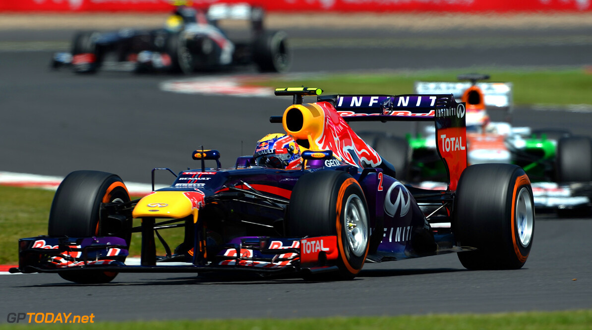 163377786KR00084_F1_Grand_P NORTHAMPTON, ENGLAND - JUNE 30:  Mark Webber of Australia and Infiniti Red Bull Racing drives during the British Formula One Grand Prix at Silverstone Circuit on June 30, 2013 in Northampton, England.  (Photo by Lars Baron/Getty Images) *** Local Caption *** Mark Webber F1 Grand Prix of Great Britain - Race Lars Baron Northampton United Kingdom  Formula One Racing formula 1 Auto Racing Formula 1 Grand Prix of Great B British Formula One Grand Prix Formula One Grand Prix