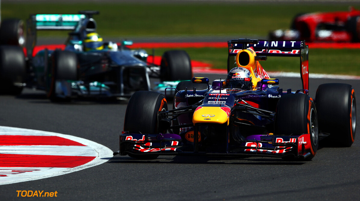 163377786KR00162_F1_Grand_P NORTHAMPTON, ENGLAND - JUNE 30:  Sebastian Vettel of Germany and Infiniti Red Bull Racing drives during the British Formula One Grand Prix at Silverstone Circuit on June 30, 2013 in Northampton, England.  (Photo by Paul Gilham/Getty Images) *** Local Caption *** Sebastian Vettel F1 Grand Prix of Great Britain - Race Paul Gilham Northampton United Kingdom  Formula One Racing formula 1 Auto Racing Formula 1 Grand Prix of Great B British Formula One Grand Prix Formula One Grand Prix