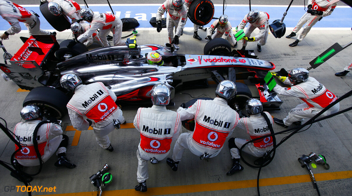 Sergio Perez makes a pit stop