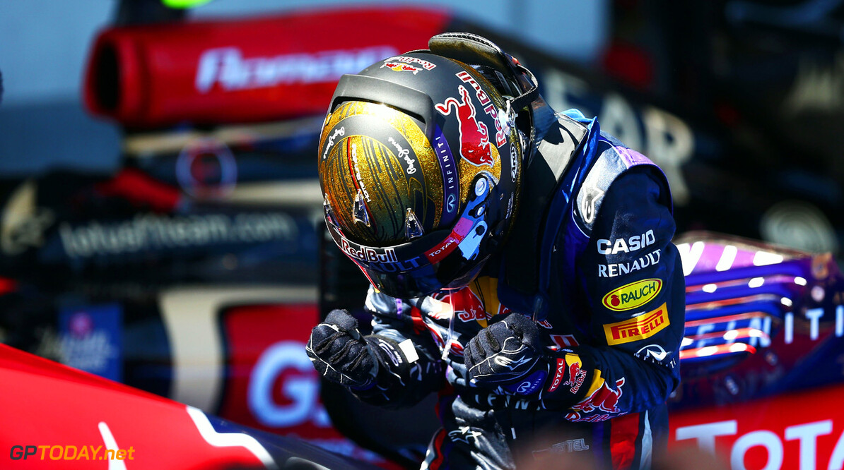 166985819KR00126_F1_Grand_P NUERBURG, GERMANY - JULY 07:  Sebastian Vettel of Germany and Infiniti Red Bull Racing celebrates in parc ferme after winning the German Grand Prix at the Nuerburgring on July 7, 2013 in Nuerburg, Germany.  (Photo by Paul Gilham/Getty Images) *** Local Caption *** Sebastian Vettel F1 Grand Prix of Germany - Race Paul Gilham Nuerburg Germany  Nurburg Nurburgring