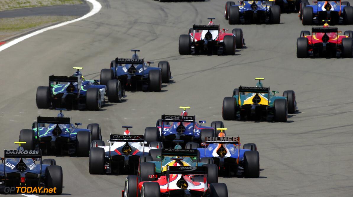 2013 GP3 Series. Round 6.  Nurburgring, Germany.  6th July 2013.  Saturday Race. Race start. Action.  World Copyright: Glenn Dunbar/GP2 Series Media Service. Ref: _89P8362