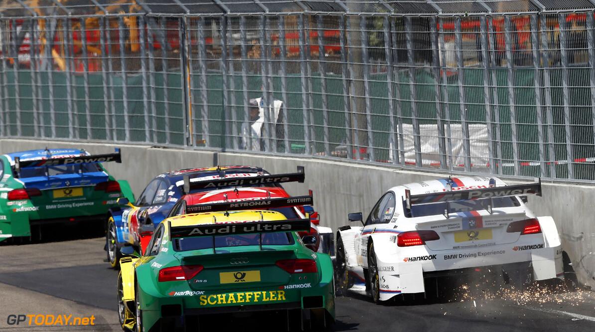 www.hoch-zwei.net 19 Mike Rockenfeller (D), Audi Sport Team Phoenix, Audi RS 5 DTM, 15 Martin Tomczyk (D), BMW Team RMG, BMW M3 DTM Motorsports / DTM: german touring cars championship 2013, 5. Race at Nuernberg, Norisring HOCH ZWEI / Juergen Tap Nuernberg Germany  Motorsport - motor sport Partner01 Weltmeisterschaft - World Champ DTM - Deutsche Tourenwagen Meis Meisterschaft - championship Rennen - Race Fahrszene - race action    Rennen - race    Aktion - action    Rennszene fahrend Fahrbild faehrt Aktionsfoto Aktionsbild