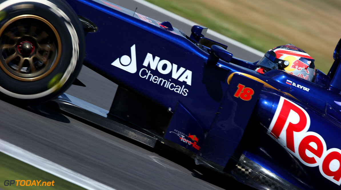 174042266MT00041_F1_Young_D NORTHAMPTON, ENGLAND - JULY 19:    Daniil Kvyat of Russia drives the Toro Rosso F1 car during the young drivers test at Silverstone Circuit on July 19, 2013 in Northampton, England.  (Photo by Mark Thompson/Getty Images) F1 Young Driver Tests - Silverstone: Day Three Mark Thompson Northampton United Kingdom  Formula One Racing