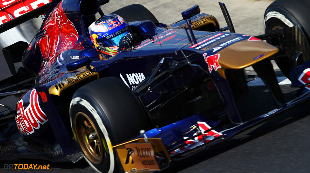 166985936KR00242_F1_Grand_P BUDAPEST, HUNGARY - JULY 26:  Daniel Ricciardo of Australia and Scuderia Toro Rosso drives during practice for the Hungarian Formula One Grand Prix at Hungaroring on July 26, 2013 in Budapest, Hungary.  (Photo by Mark Thompson/Getty Images) *** Local Caption *** Daniel Ricciardo F1 Grand Prix of Hungary - Practice Mark Thompson Budapest Hungary