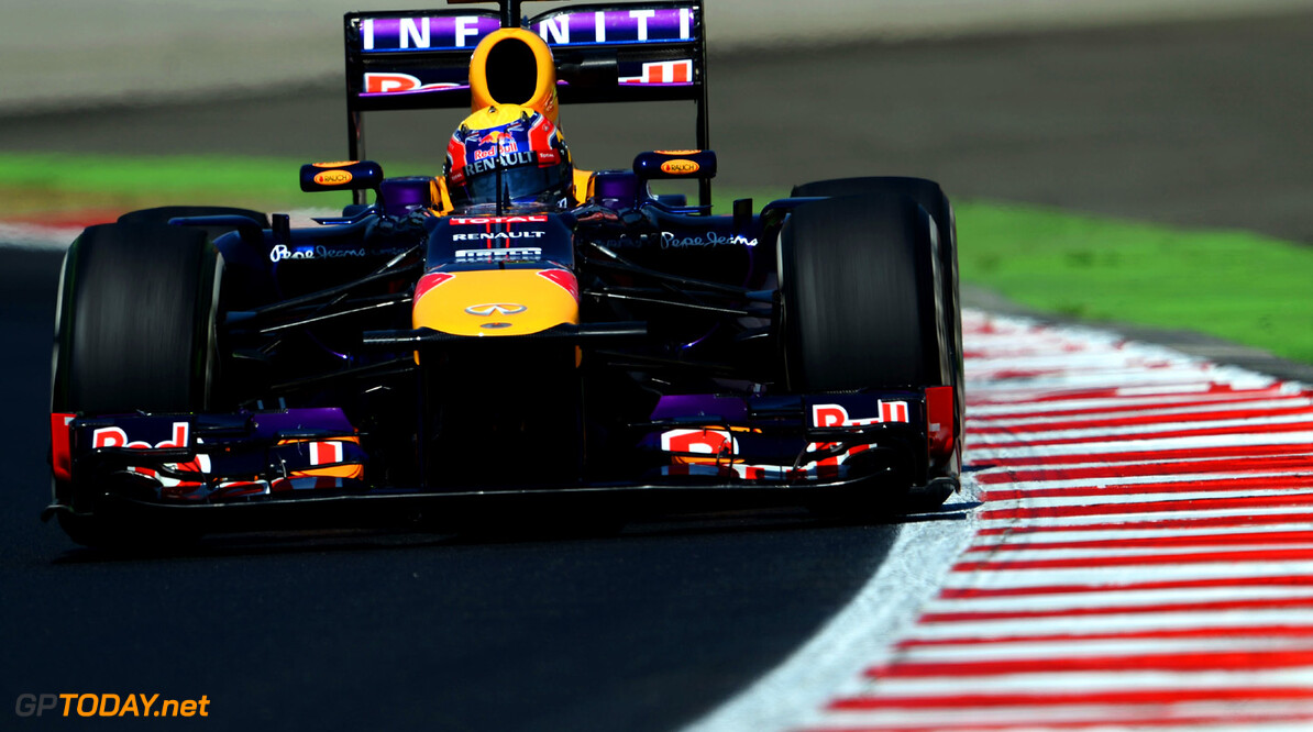 166985936KR00071_F1_Grand_P BUDAPEST, HUNGARY - JULY 26:  Mark Webber of Australia and Infiniti Red Bull Racing drives during practice for the Hungarian Formula One Grand Prix at Hungaroring on July 26, 2013 in Budapest, Hungary.  (Photo by Lars Baron/Getty Images) *** Local Caption *** Mark Webber F1 Grand Prix of Hungary - Practice Lars Baron Budapest Hungary