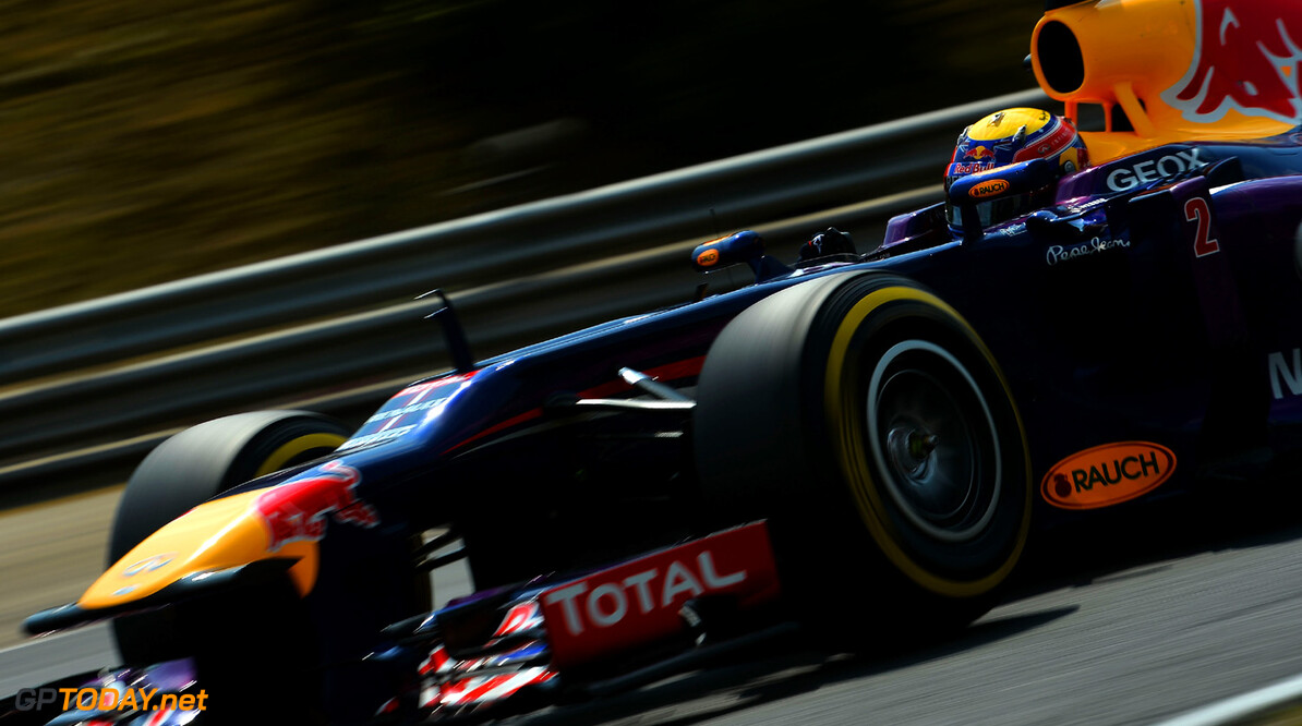 166985989KR00137_F1_Grand_P BUDAPEST, HUNGARY - JULY 27:  Mark Webber of Australia and Infiniti Red Bull Racing drives during qualifying for the Hungarian Formula One Grand Prix at Hungaroring on July 27, 2013 in Budapest, Hungary.  (Photo by Lars Baron/Getty Images) *** Local Caption *** Mark Webber F1 Grand Prix of Hungary - Qualifying Lars Baron Budapest Hungary